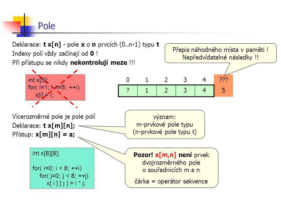 Pole Deklarace: t x[n] - pole x o n prvcích (0..n-1) typu t